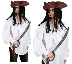 Whiite Lace Front Pirate Shirt Buccaneer Adult Mens Fancy Dress Costume