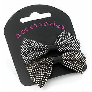 2 Black /& White Heart Mini Beak Clips Slides Hair Accessories UK Girls Kids