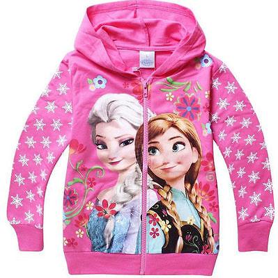 Congelados Con Capucha Chaqueta Muchachas Con cremallera Jersey Elsa azul rosa 2