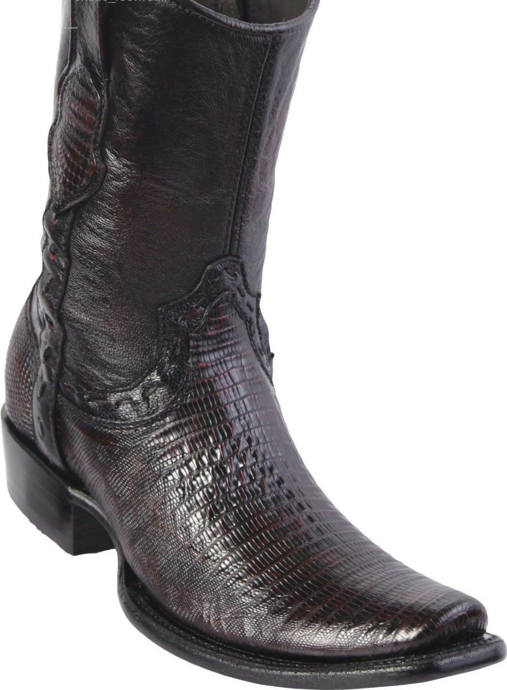 King Exotic CHERRY TEJU LIZARD Western avvio Side Zipper Mid Calf EE