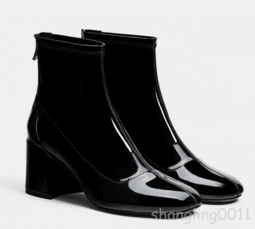 Women/'s Lamb Patent Shiny Leather Square Toe Back Zip Block Heel Ankle Boots Top