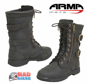 cc8327e429ef85 ARMR Moto Tara Ladies Urban Motorcycle Bike Boots Black Leather ...