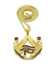 "Egypt Red Stone Eye of Horus Pendant 24"" Various Hip Hop Chain Necklace XTP57G"
