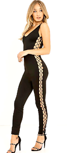 f5b791a24375f5 Image is loading Black-Lace-Up-Side-Bandage-Sleeveless-Jumpsuit-UK-
