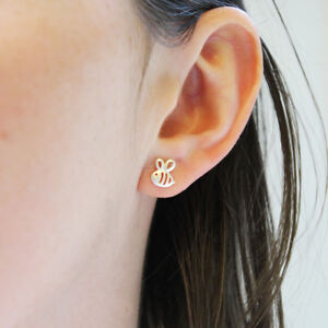 a03b16db7 Image is loading Silver-Cut-out-Honey-Bee-Studs-Earrings-Bumblebee-
