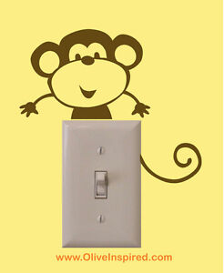 No More Monkeys Jumping Bed Light Switch Art Vinyl Wall Decal Nursery Decor