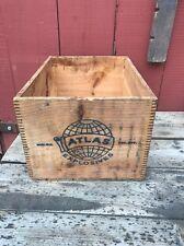 "Vtg atlas powder high explosives dovetail wood box crate Dynamite 17.5"" Rare DE"