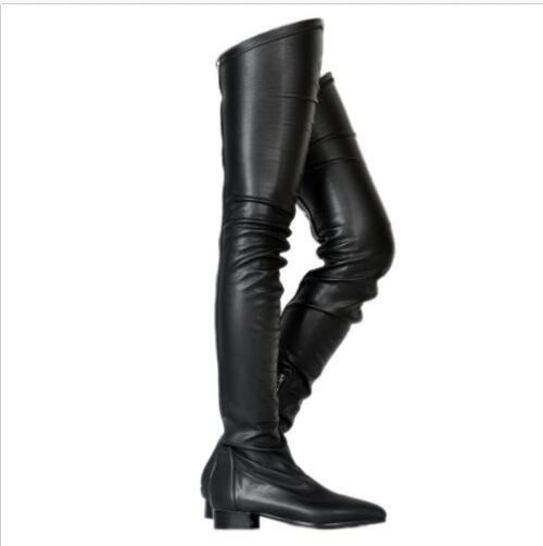 Damen Stiefel Nachtclub Overkneestiefel    Kunstleder Flach Schuhe Gr.34-45 46 47  | Verbraucher zuerst  470785