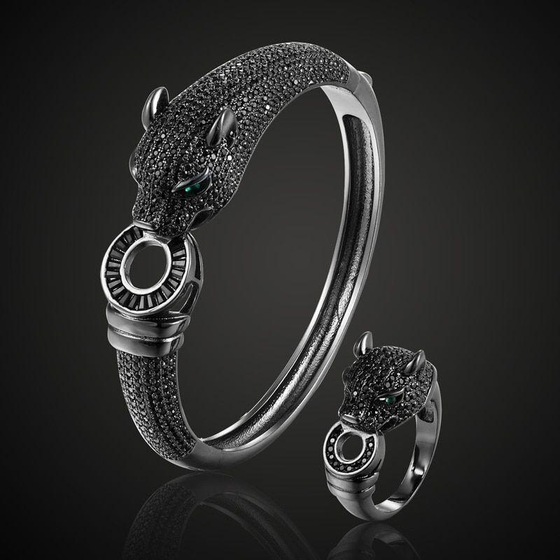 Men's Leopard Animal Bracelet Cubic Zircon Bridal Europe Design Copper Jewelry
