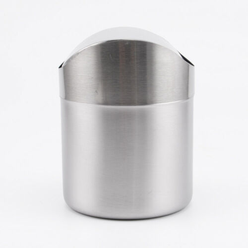 Mini Metal Desk Trash Bin Countertop Waste Can With Swing Lid 1.5 L
