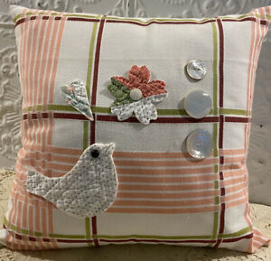 NEW-Handmade-Pillow-Quilted-Bird-Flower-Heart-Vintage-Tablecloth-MOP-Buttons