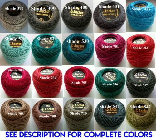 Colors choose 10 Anchor Pearl Cotton Crochet embroidery thread balls Size 8 220