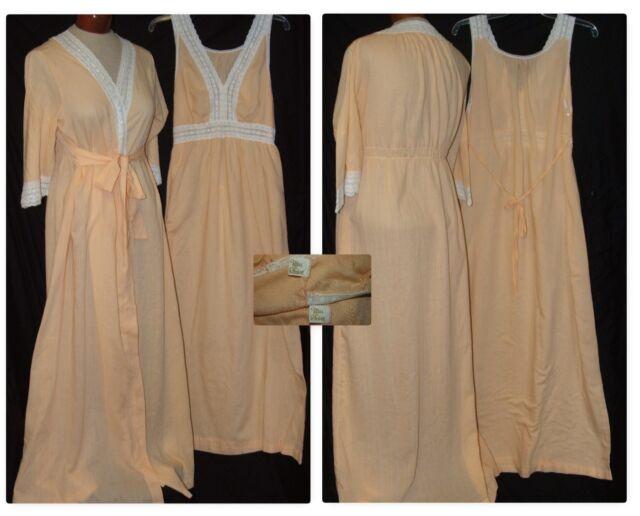 Vintage MISS ELAINE Peach Orange M Long Nightgown Robe Peignoir Set Cotton Gown