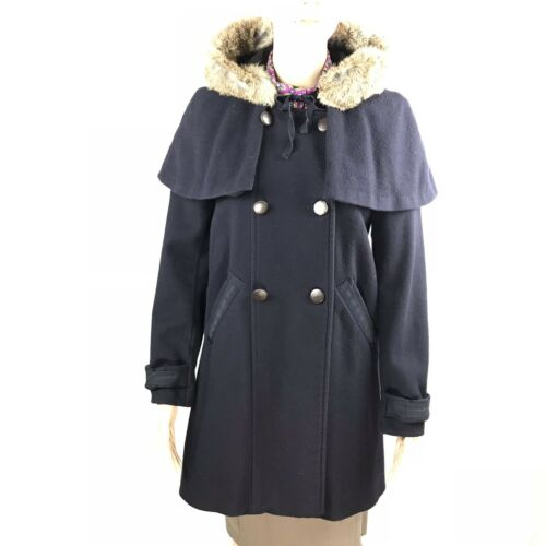 Navy Trim Coat Sm Cotonniers Collar Wool Comptoir Sz38 Rabbit Pea Des Fur Ribbon xvq868