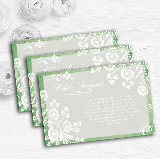 Rustic Grün Lace Personalised Wedding Gift Cash Request Money Poem Cards