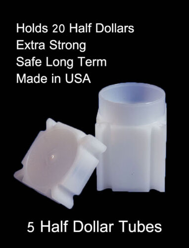 Coin Safe Square Archival Plastic Coin Tubes Lot Of 5 Half Dollar Storage Tubes