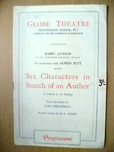 Globe-Theatre-Programme-SIX-CHARACTERS-IN-SEARCH-OF-AN-AUTHOR-by-L-Pirandello