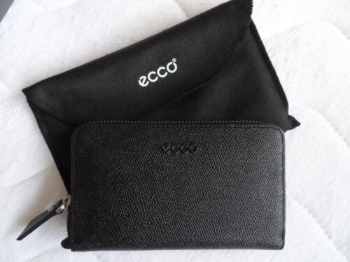 For Leather Purse Cards Coins Black In Box Denmark Ecco Zipped Wallet New Notes t8X4tx