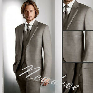 Gray Men's Wedding Suits 3pcs Groom Smokings Formelle Garçon Lapel Custom Made-afficher Le Titre D'origine Ventes Pas ChèRes 50%