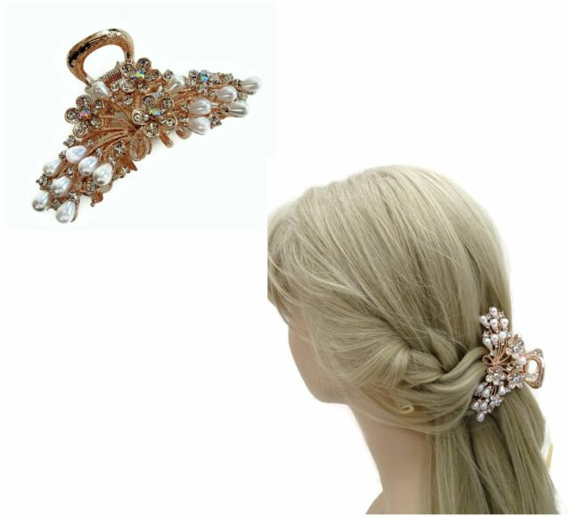 Beautiful Crystal Diamante Hair Clamp Claw Flower Design Rose Gold Tone Bridal