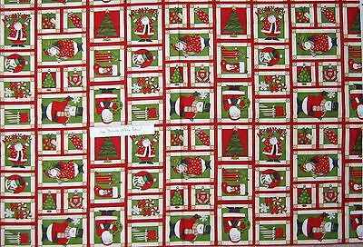 "Christmas Fabric - Debbie Mumm Ho Ho Holiday Snowman Santa Red - SSI 22x44"""