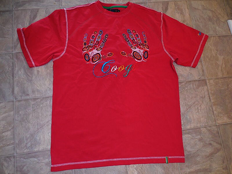 COOGI biggie hip hop Casual T SHIRT Red w  colorful Embroidered HANDS & LOGO XL