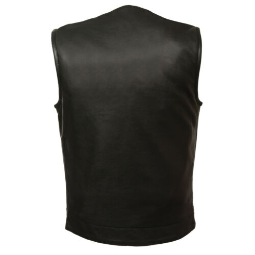 Milwaukee Men/'s Collarless Naked Leather Vest w// Snap /& Zipper Front *MLM3511*