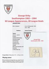 GEORGE KIRBY SOUTHAMPTON 1962-1964 RARE ORIGINAL HAND SIGNED CUTTING/CARD