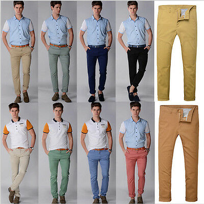 Fashion Mens Slim Straight Fit Casual Pants Skinny Stretch Pencil Jeans Trousers