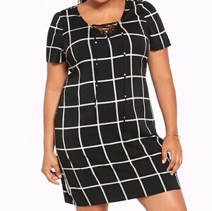 8c4a76551c32e Torrid Plaid Tie Up Front Dress Black 4X 26 4 #57612 | eBay