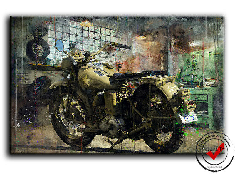 Motorrad Army Oldtimer Militär Bild Bilder Leinwand Garage Wandbild Poster,Deko