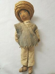 Vintage-Cloth-Antique-Mexican-Doll-HandMade-Campesino-Traditional-farmer-OOAK