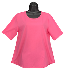 New-Denim-amp-Co-Essentials-Med-Lt-Pink-Elbow-Sleeve-Perfect-Jersey-T-shirt