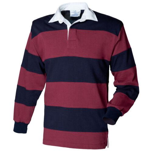 Mens Long Sleeve Plain Rugby Shirt Stripe Striped Diagonal Harlequin Cotton Top