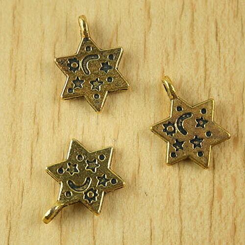 20pcs dark gold-tone moon and star charms h2065