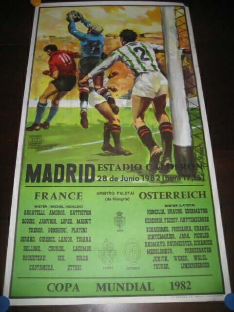 Poster Football Monde Espagne 1982. Stade Calderon, Madrid. France - Autriche