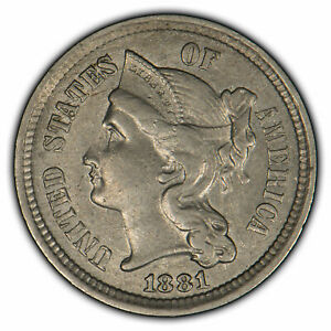 1881 3c Nickel Three Cent Piece - Original AU Coin - SKU-X1592
