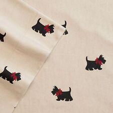 SCOTTIE DOG Queen  FLANNEL Sheet Set NEW 4pc Cuddl Duds Red Black Tan