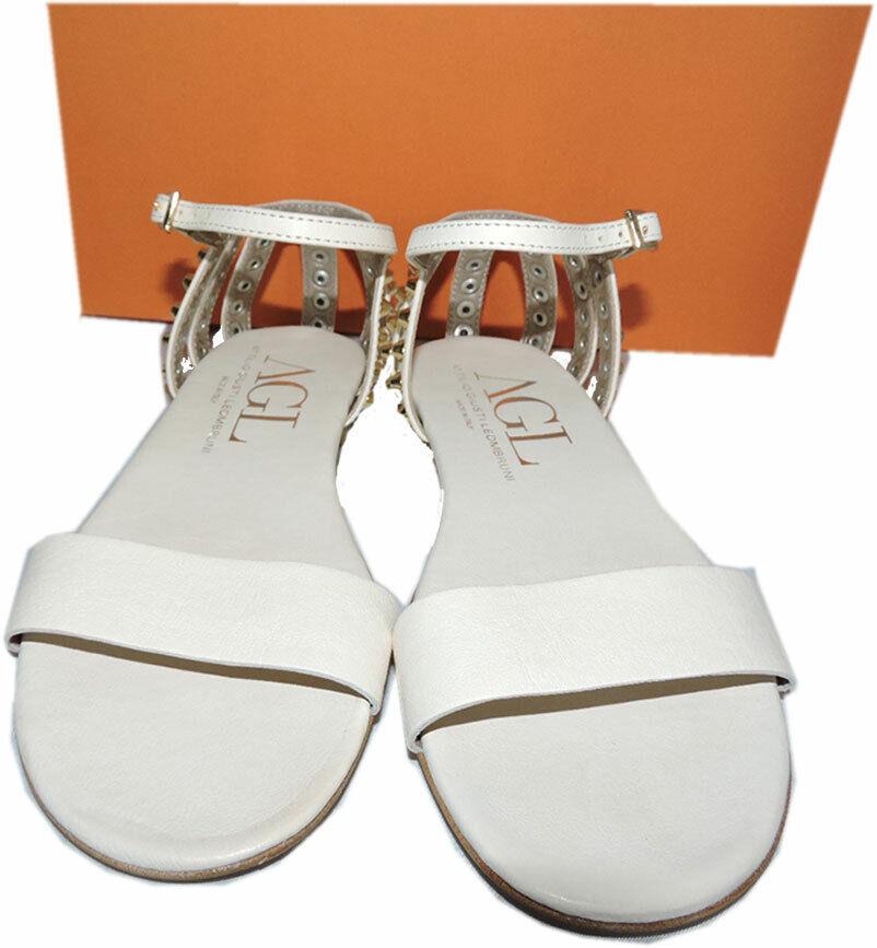 Agl Attilio Giusti Leombruni Studded Heel Cage Flat Flat Flat Sandals 38.5 Ivory Leather 546263