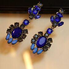Boucles d`Oreilles Clips Longue Pendante Bleu Gris Original Mariage Cadeau A5