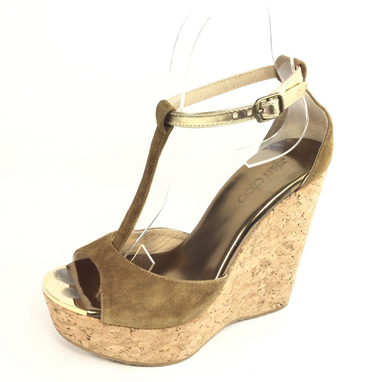 Jimmy Choo Womens Size 35 M Dark Green Suede Wedge T-strap Sandals