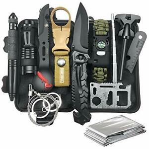 Gifts for Men Dad Husband Survival Gear and Equipment 12 in 1 Survival Kit Fi...
