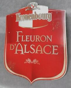 1960s-French-Vintage-tole-alu-ADVERT-LARGE-Plaque-kronenbourg-BEER-22-034-H