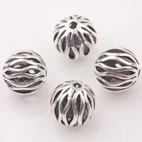 10/20Pcs Tibetan Silver Round Hollow Loose Spacer Beads 10mm DIY Neckalce Charms