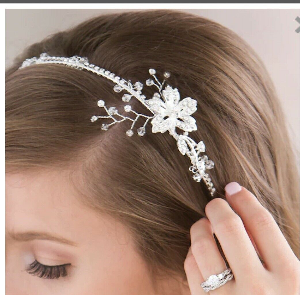 NEW David Tutera Floral Rhinestone Headband, Silver
