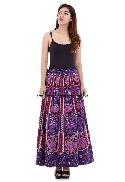 Elephant Mandala Skirt Indian Waist Skater Hippie Wrap Around Rapron Beach Dress
