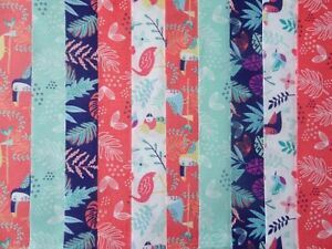Plain Colour Fabric Jelly Roll Strips Patchwork Quilting Pink Blue Cream