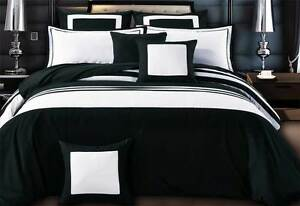 Luxton-queen-super-KING-black-white-Quilt-Cover-Set-hotel-style-doona-Cover