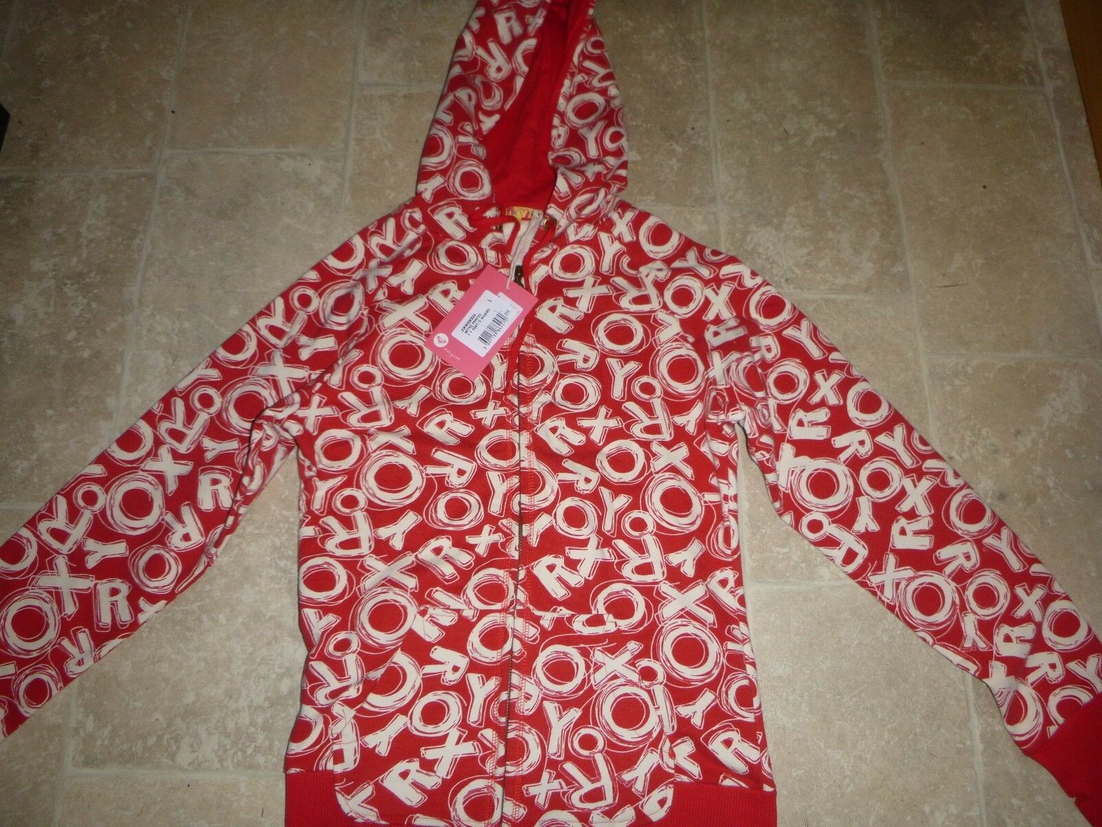 BNWT Roxy Red White Roxy Hoddie Hooded Top Top Top Size Large fc7e5f