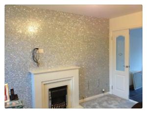 Glitter-papier-peint-Grade-3-argent-10-m-Decoration-Murale-Papier-Tissu-Meubles-UK